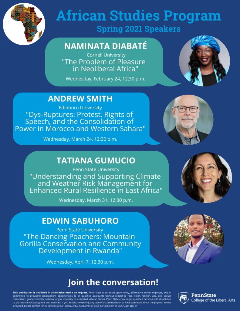 Image of African Studies Program spring 2021 speakersflyer