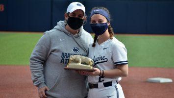 Image of Penn State Brandywine athletic director Bobbi Caprice (left) with Haley Grossi, the 2021 John S. Egli Scholar-Athlete Award winner
